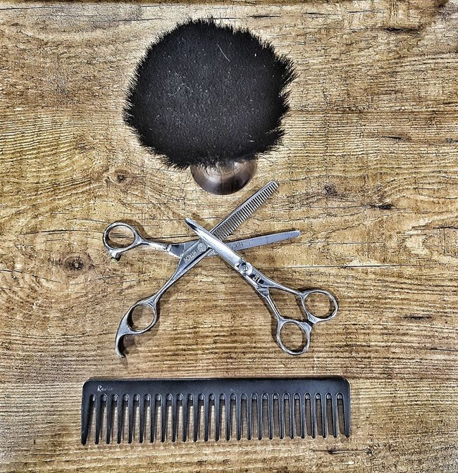 Day Tranquility Memories Grey Land Scissors Hair Haircut Hairstylist Hair Comb Comb Hairdresser Wood