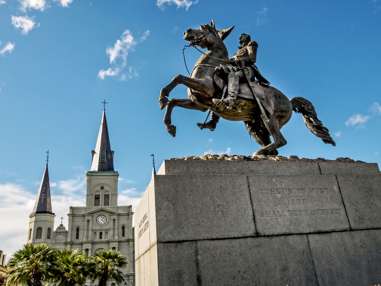 Statue of Andrew Jackson on a Horse in front of St. Louis Cathedral 2 Animal Architecture Building Exterior Built Structure City City Gate Cityscape Day French Quarter Jackson Square New Orleans, LA No People Outdoors Place Of Worship Sculpture St. Louis Cathedral Statue Travel Travel Destinations