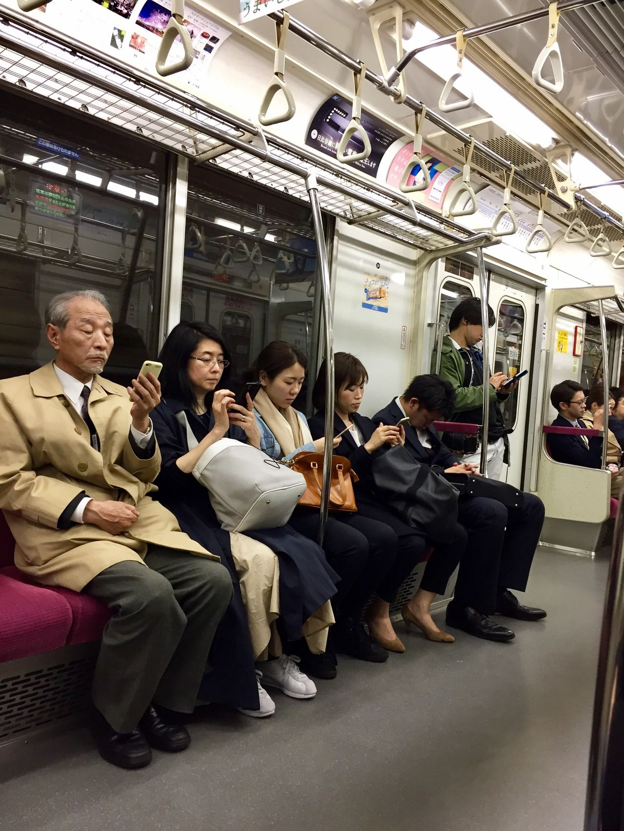 Tokyo subway Sitting Full Length Group Of People Men Communication Women Wireless Technology Mature Adult Adults Only People Indoors  Senior Adult City Adult Subway Train Public Transportation Senior Men Technology Togetherness Day Tokyo TokyoSubwayTrain Oldpeople