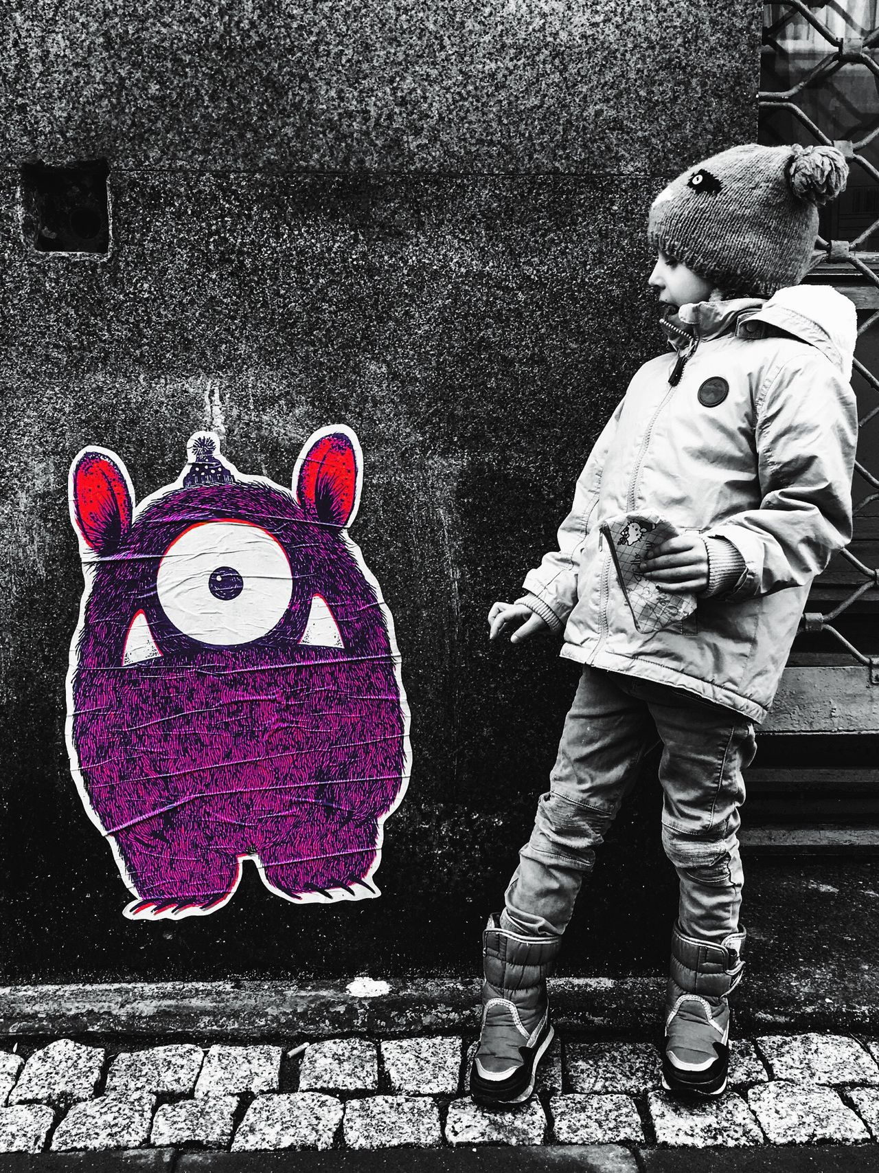 One Person Childhood Outdoors Blackandwhite City Industrial Cityscape City Life Streetphotography Street Art Kids Monster Pink Color