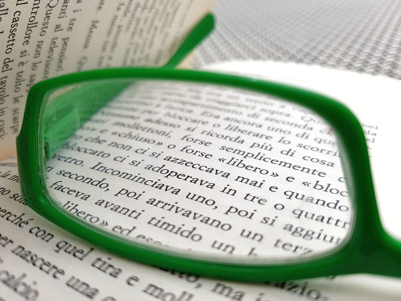 Book Reading A Book Reading Outside Glasses Reading Glasses Magnified Letters Page Of A Book Letters Reading Through A Lens Green Green Glasses