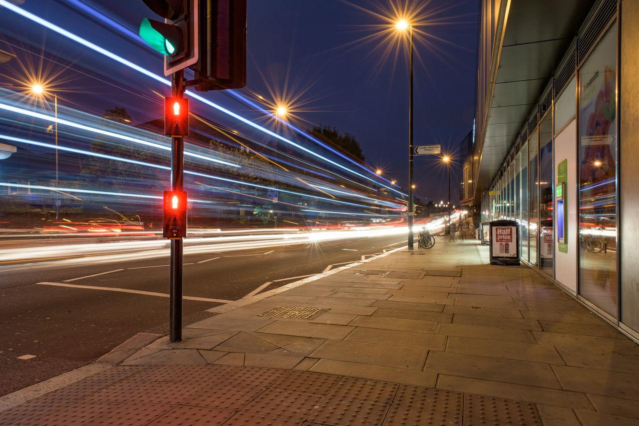 illuminated, night, transportation, speed, light trail, street light, long exposure, street, motion, no people, outdoors, road, city, building exterior, architecture, high street, sky