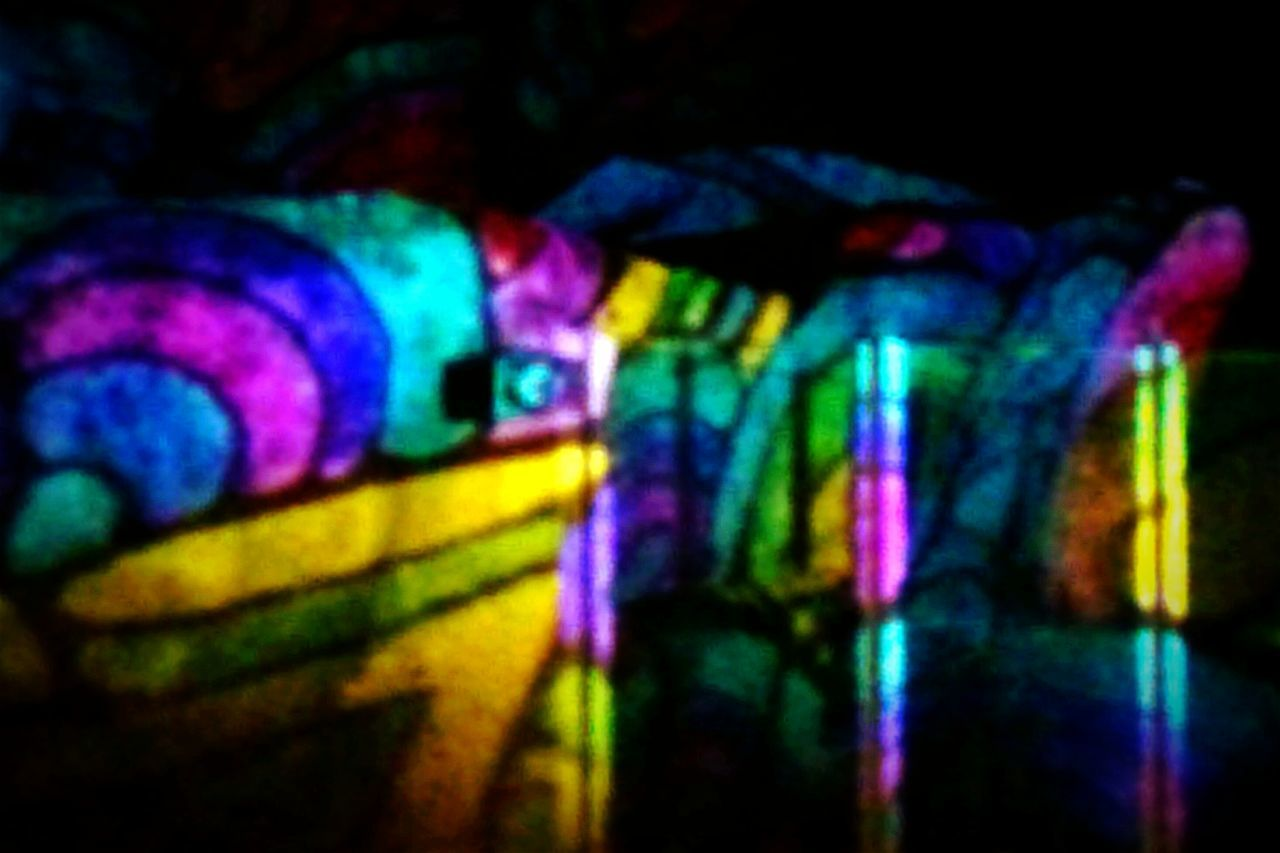 multi colored, illuminated, colorful, no people, close-up, indoors, low angle view, night