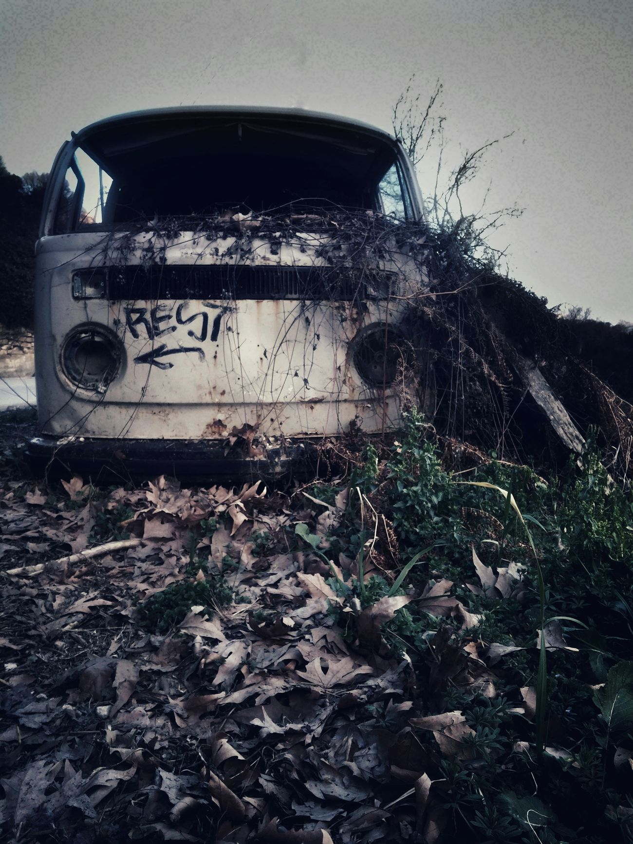 Car Abandoned Transportation Old Damaged Obsolete Destruction No People Outdoors Rusty Bad Condition Edited Decay Vwtransporter