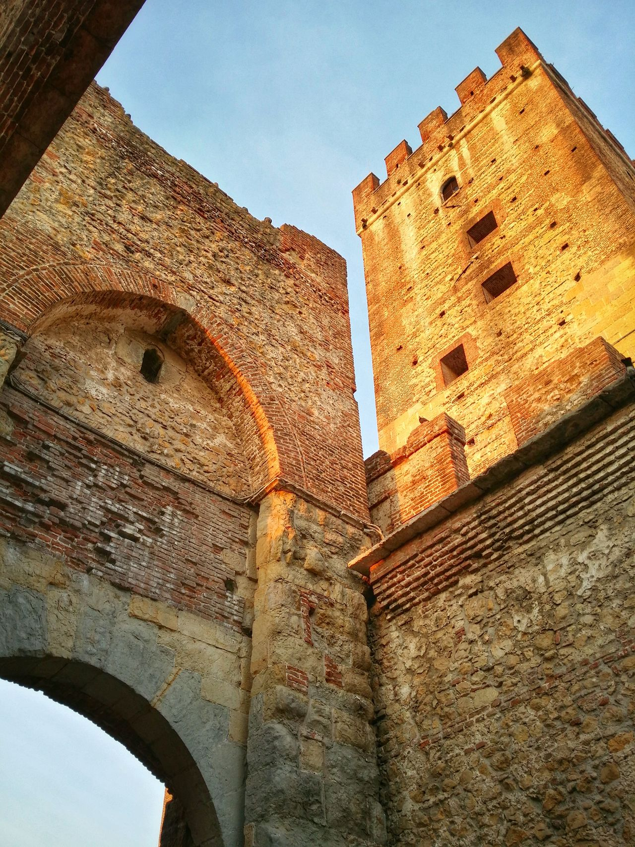 Marostica, Italy Looking Upward Medieval Walls Red Brick Walls Watch Towers Sunset Light Golden Light Leading Lines Long Shadows Wrinkles Of The City