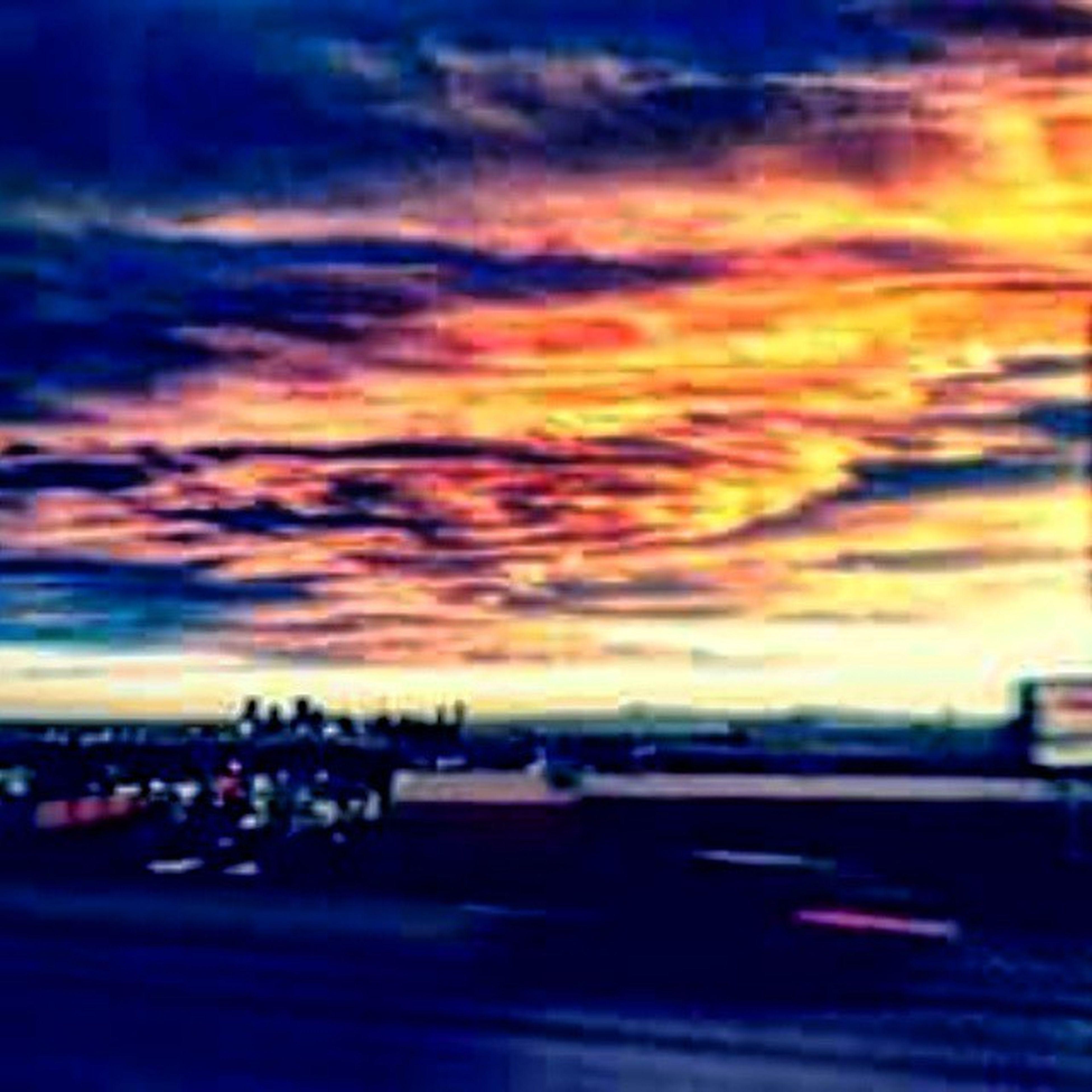 sky, cloud - sky, sunset, cloudy, dramatic sky, cloud, dusk, weather, orange color, multi colored, outdoors, transportation, beauty in nature, nature, moody sky, scenics, city, overcast, storm cloud, cloudscape