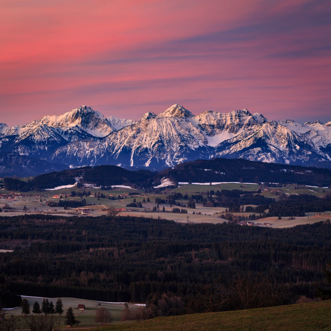Allgäu Alps Bavaria Early Morning Germany Glowing Landscape Mountains Spring Sunrise Tranquility View
