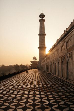 Sunrise from the back of Taj Mahal. Architectural Feature Architecture Clear Sky Day Famous Place History India Sunrise Taj Mahal Travel Destinations Winter