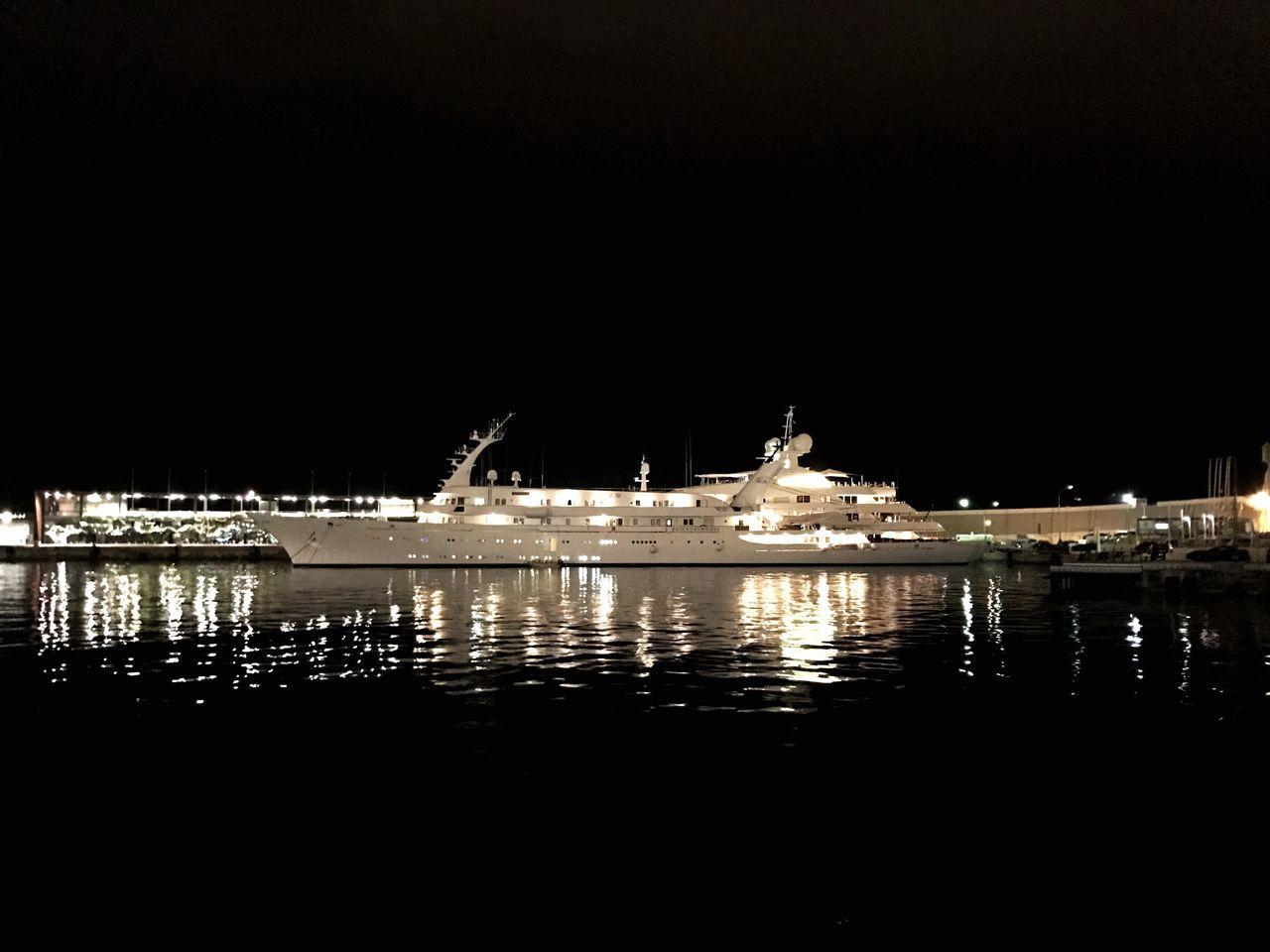 Night Illuminated Nautical Vessel Water Harbor Harbour Mediterranean  Monaco Monte Carlo French Riviera Sea Boat Marina Atlantis 2