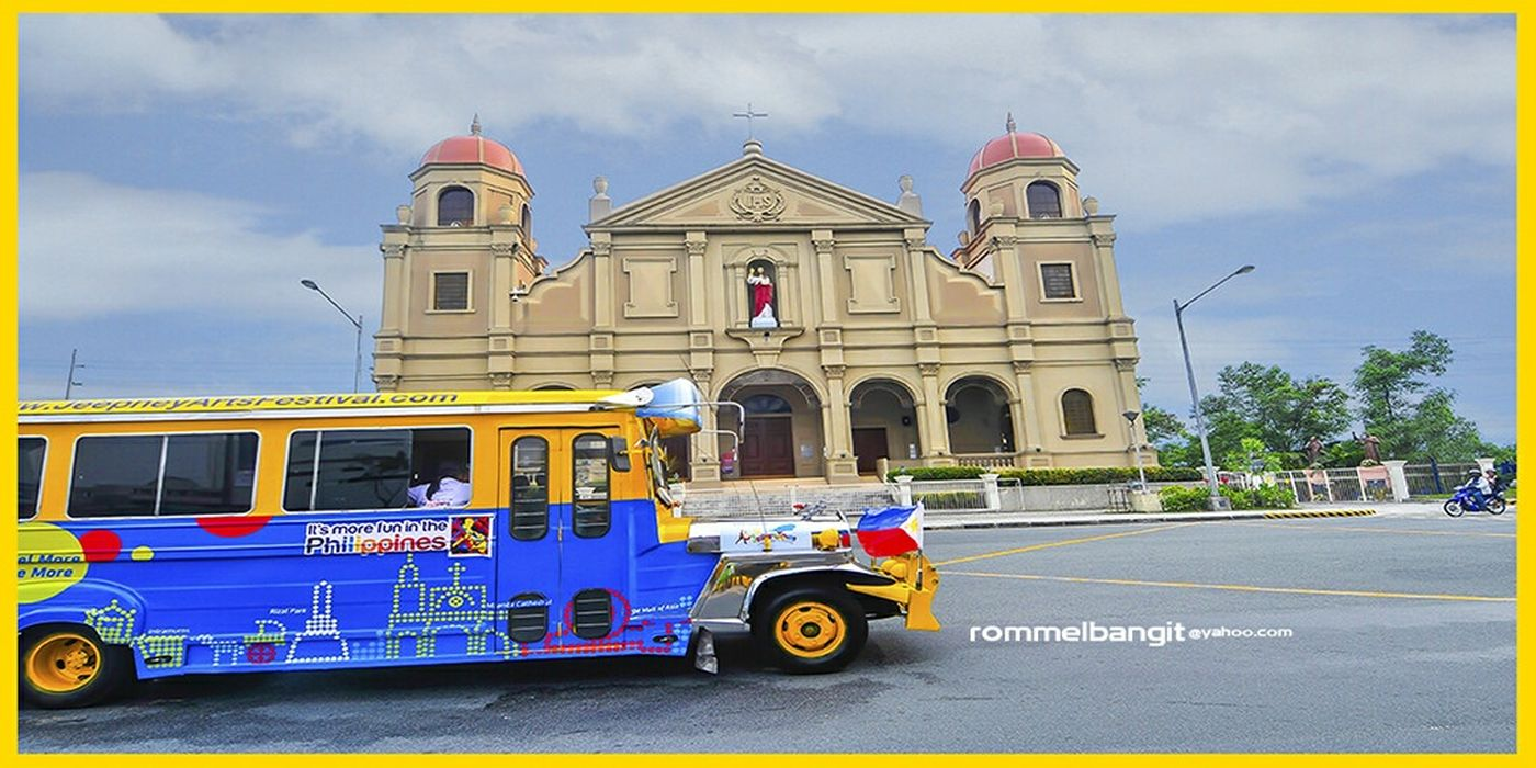 MAKE WAY TO THE PHILIPPINE JERPNEY : Philippine Jerpney adorned with colorful design motif depicting churches and landmatks travels fast in front of Shrine of Jesus the Way Church at Seaside Boulevard North, Pasay, Metro Manila, Philippines @rommelbangit Architecture Building Blue Jeepney Jeepney Art Philippinesjeepney Rideonajeepney Jeepney Ride JeepneyMoments JeepneyArt
