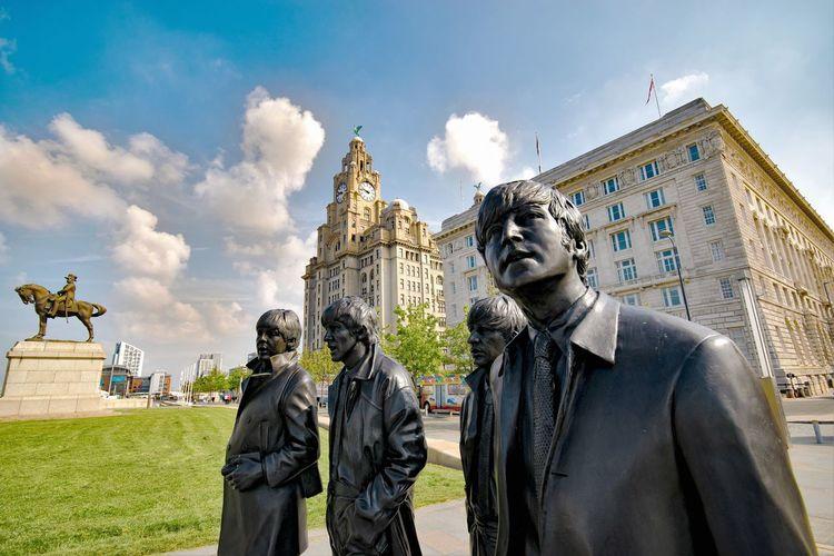 Bronze Beatles Statue The Beatles Fab Four Liverpool Waterfront Buildings & Sky Albert Dock Albert Docks Liverpool, England Merseyside Liverpool Docks Statue Bronze Statue Pier Head Liverpool