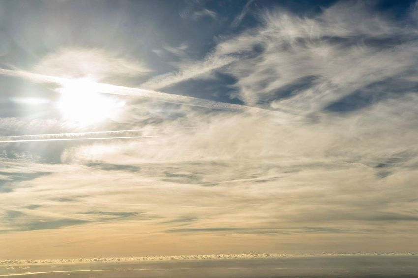 Looking straight to the sun Cloud - Sky Sky No People Aerial Photography Travel Destinations Travelblogger Travel Photoblogger Wide Shot Scenics Aerial View Cloudscape