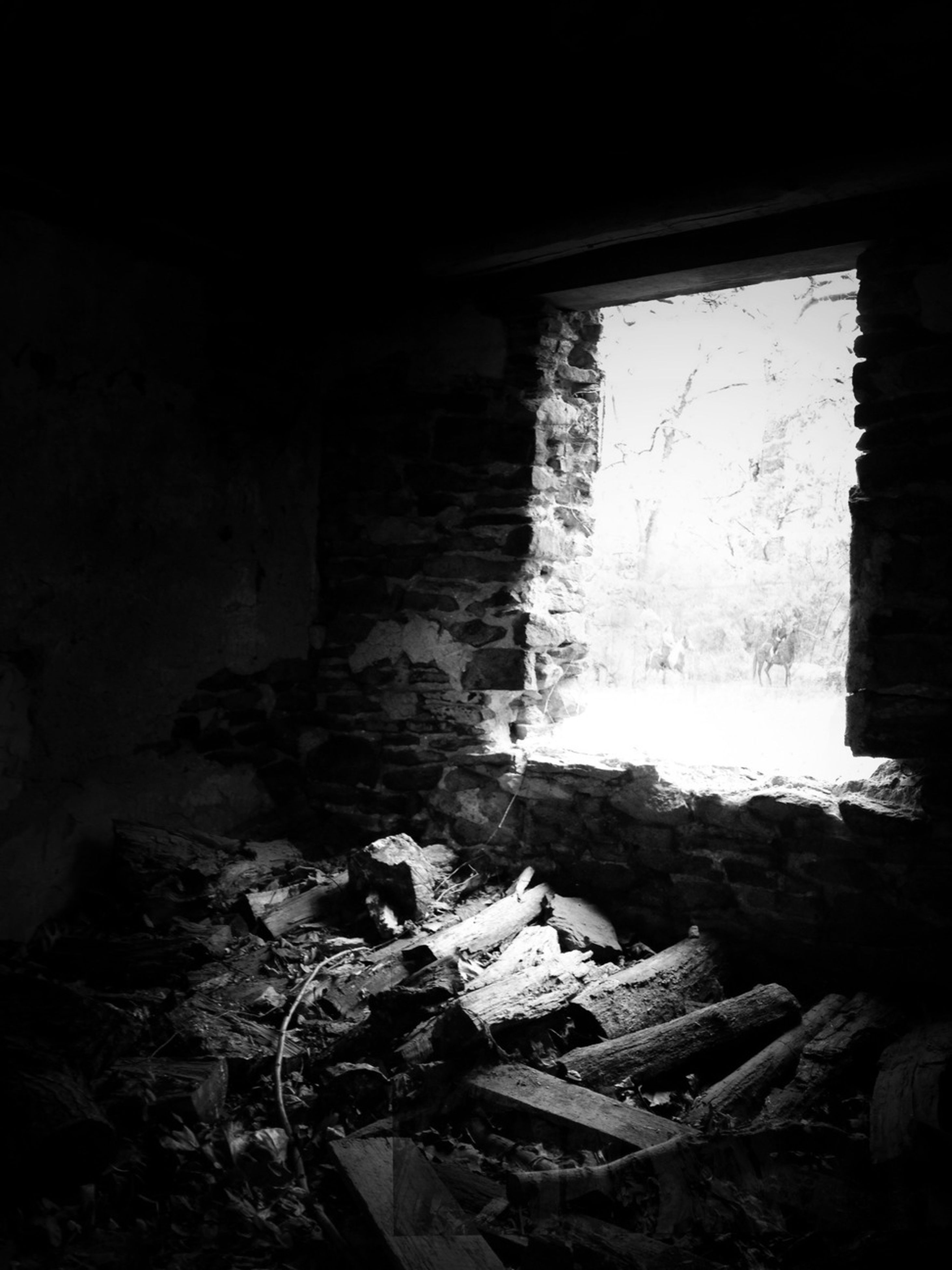 abandoned, obsolete, damaged, indoors, deterioration, run-down, old, built structure, ruined, architecture, destruction, bad condition, broken, old ruin, weathered, window, wall - building feature, messy, house, rock - object