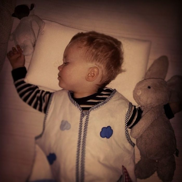 First night with a Pillow . So far so good. No moving all over the bed. Cute Toddler  Child Happy Sleep Bunny  Lamb Jellycat SleepingBag