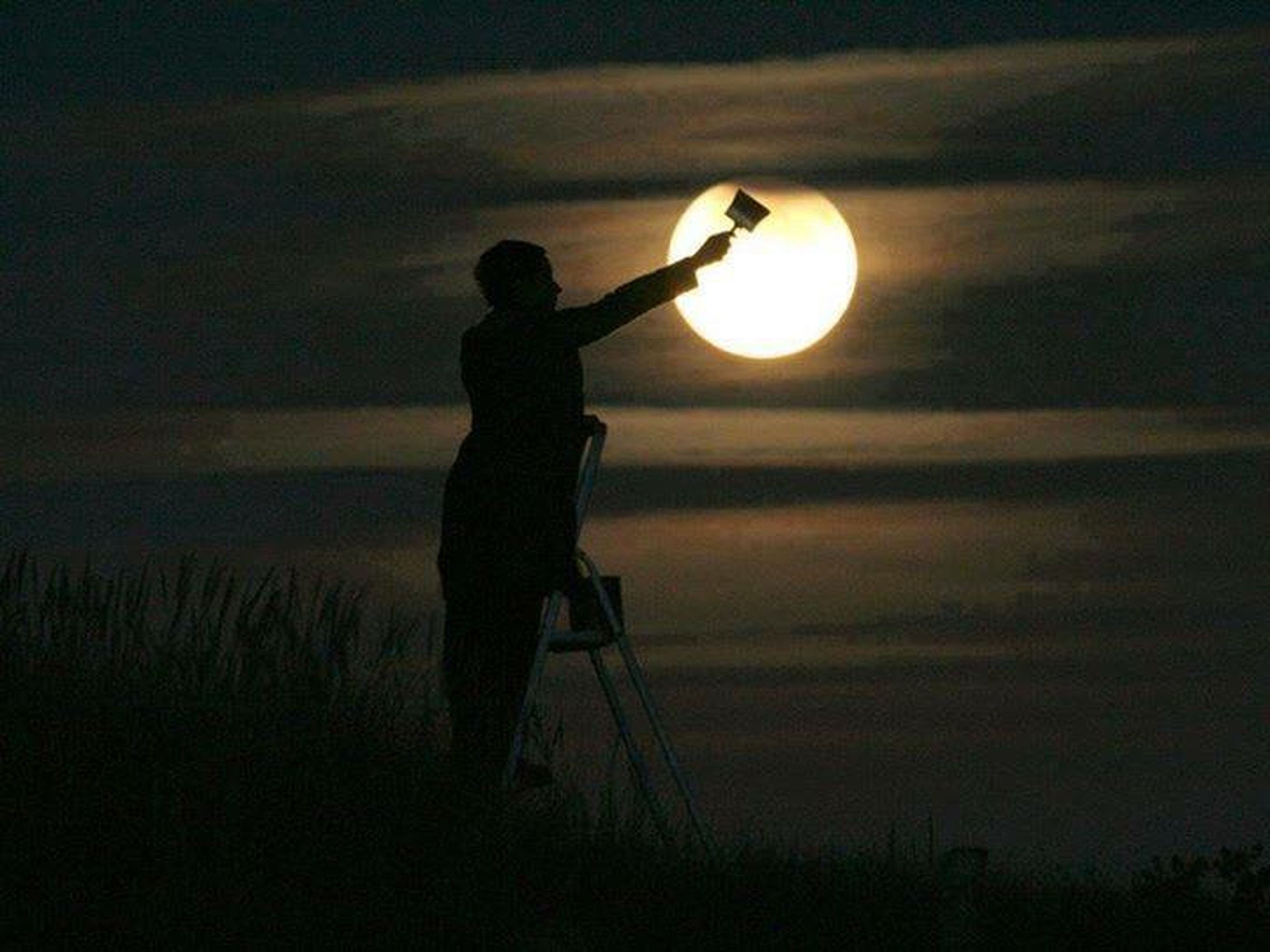 silhouette, moon, night, sunset, sky, sun, leisure activity, tranquility, standing, tranquil scene, lifestyles, circle, dusk, full length, men, nature, beauty in nature, scenics