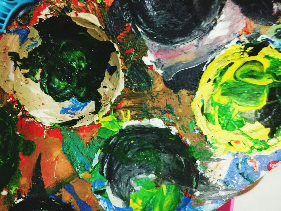 Multi Colored Creativity Art And Craft Paint Fine Art Painting Close-up Backgrounds Palette Full Frame Painted Image Acrylic Painting Oil Painting Abstract Textured  No People Oil Paint Day Happiness