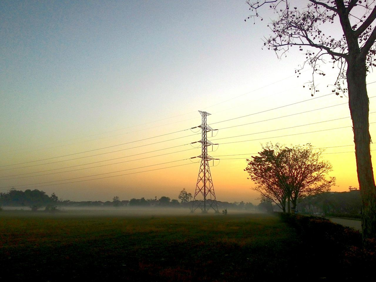 Sunrise Tranquil Scene Electric Tower  Foggy Morning