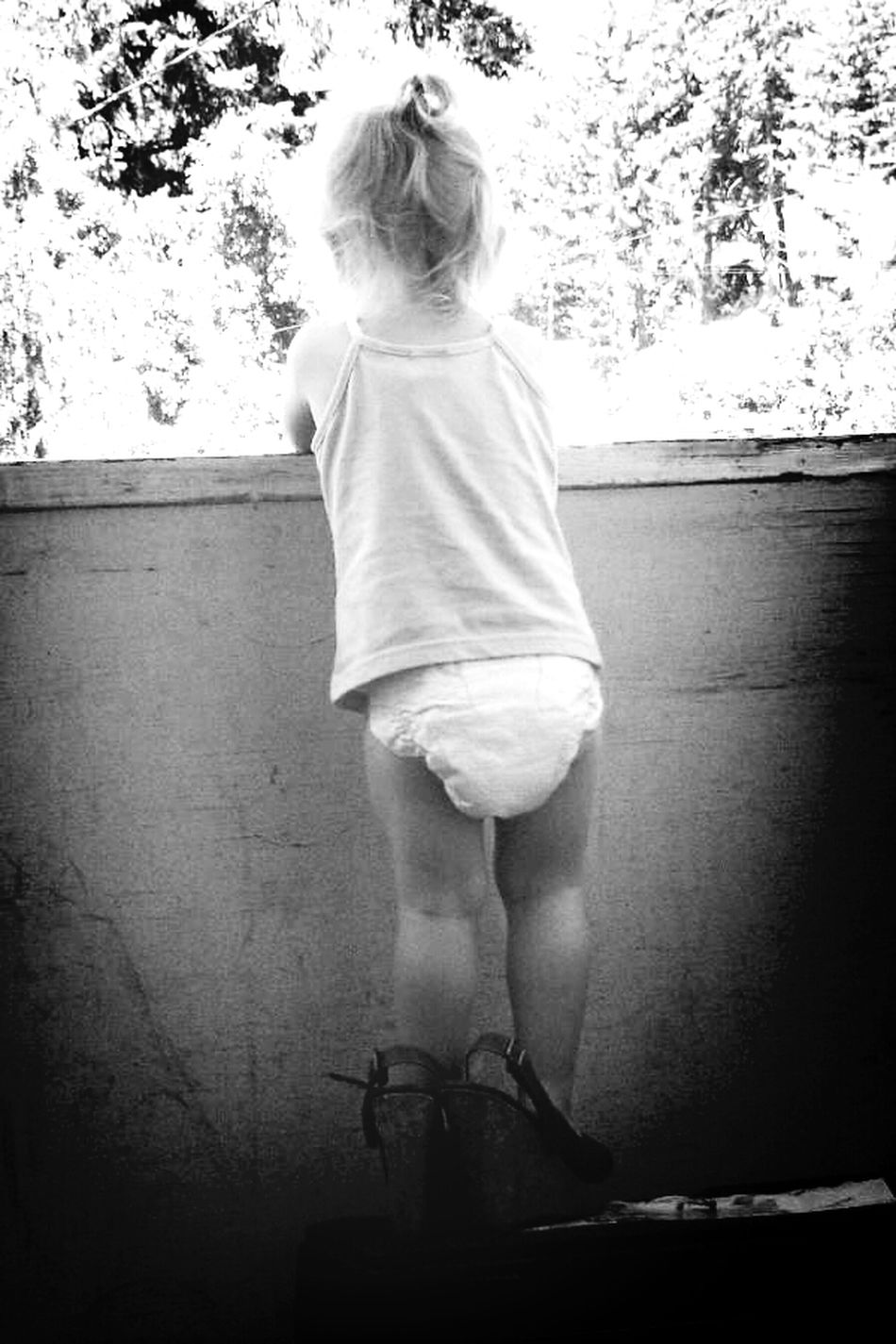 She's always wearing my heels...Heels Mom's Black And White Kiddos