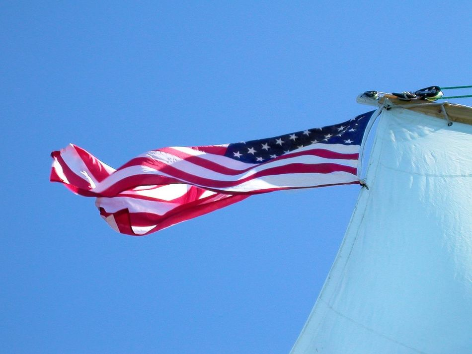 Beautiful stock photos of memorial day, American Culture, American Flag, Blue, Clear Sky