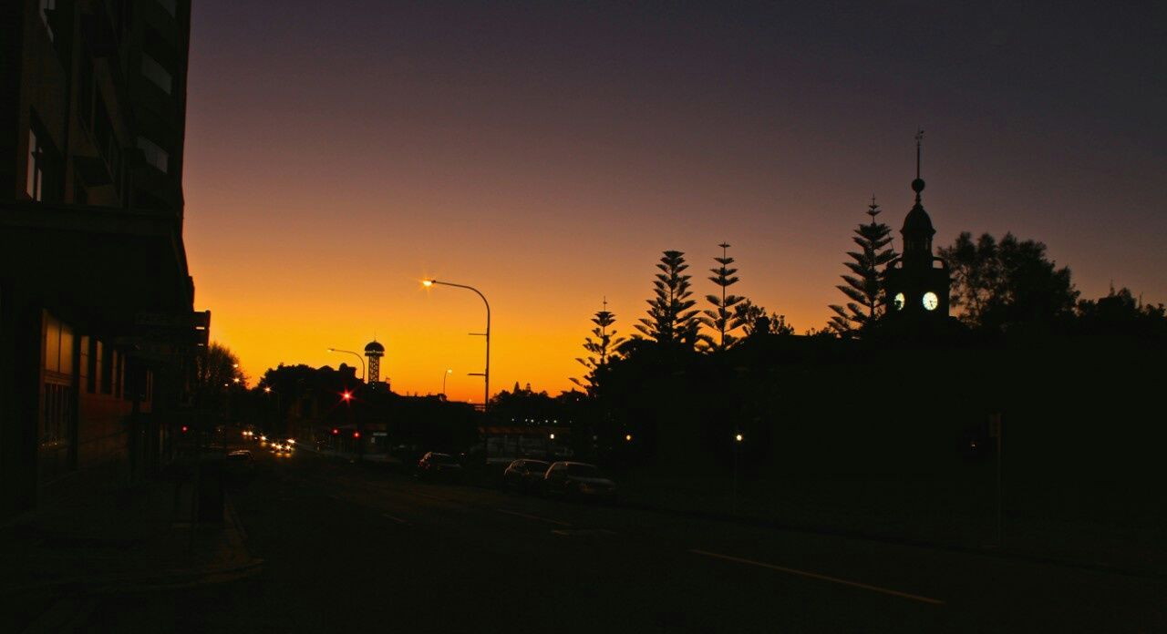 Overnight Success Silhouette Sunset Dark Road Orange Color Outline Building Exterior Sky Tranquil Scene Tall Calm Dusk