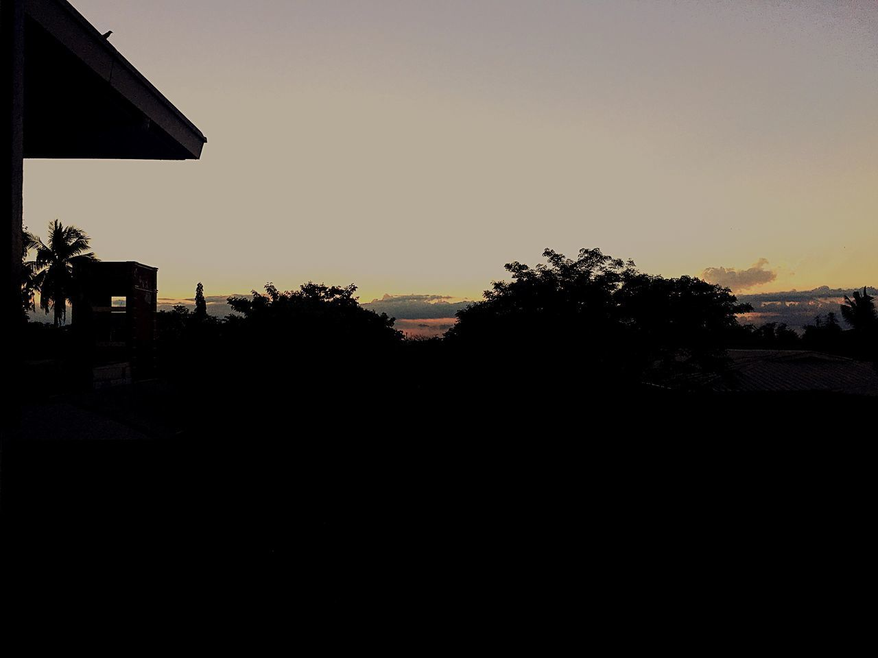 silhouette, sunset, clear sky, copy space, tree, no people, nature, sky, outdoors, beauty in nature, scenics, building exterior, architecture, day