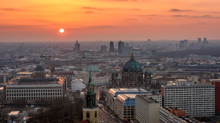 In Berlin with Love II Sunset Architecture Cityscape Building Exterior Built Structure City High Angle View Dome Orange Color Travel Destinations Urban Skyline Skyscraper Cloud - Sky Outdoors Aerial View Religion Sky Place Of Worship Day No People Colour Your Horizn