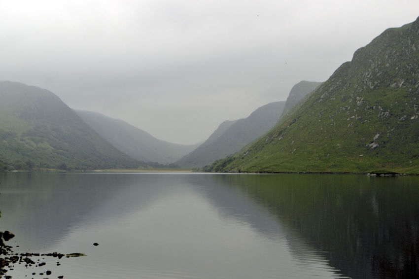 Beauty In Nature Day Fog Lake Mountain Mountain Range Nature No People Outdoors Reflection Scenics Sky Tranquil Scene Tranquility Water Waterfront