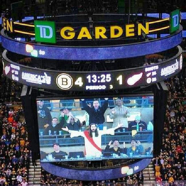 """So from what I hear """"Jesus """" was named fan of the game at the Bruins game on Easter Sunday....and was booed! That's messed up Boston, lol. Jesus Hockey Boston Burninginhell funny booed eastersunday ohshit"""