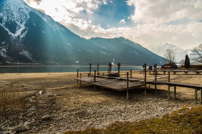 Beauty In Nature Calm Cloud - Sky Lake Majestic Mountain Mountain Range Nature No People Non-urban Scene Outdoors Pier Sky Tourism Tranquility Water Achensee Beach Austria Steg Anlegestelle Anlegebrücke Landing Stage Stage