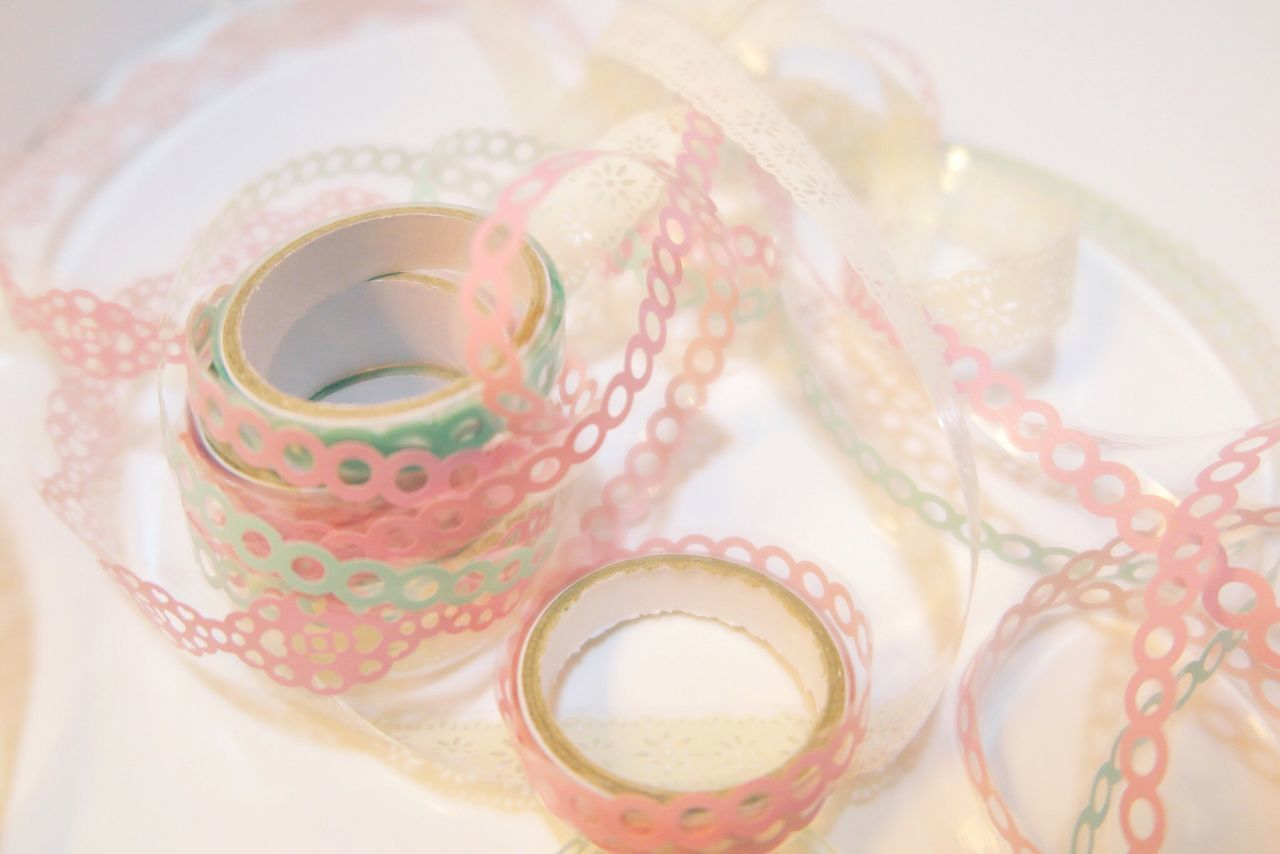 High Angle View Close-up Multi Colored Present Pink Color Loops Loop Tape Tapes Still Life White Background Indoors  No People Day Pastel Power Pastel Pastel Colors Wrapping Paper Wrapping Wrapping Presents Shabby Chic Selective Focus Lovely