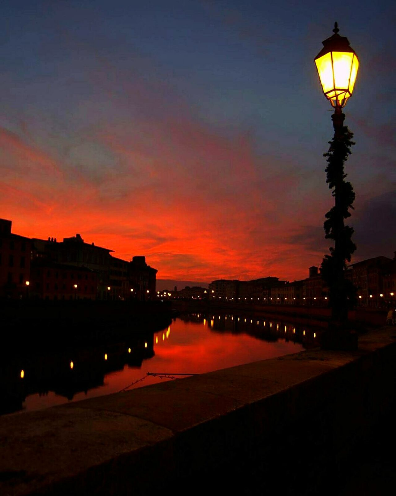 Reflection Sunset Water Nature City Illuminated Outdoors Sky River Taking Photos River View River Collection Colors Colour Pisa Pisa Italy Italy Night Scenics Light Shadow Light Light And Shadow Lights