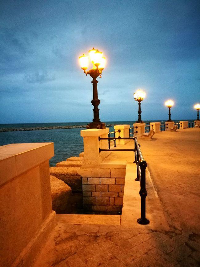Bari Puglia Lungomare Sea Sky Luci Lampioni Scale  Evening September