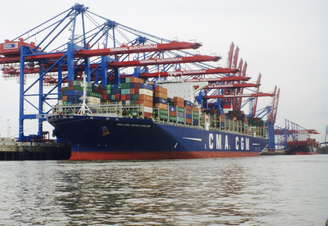 Cargo Container Container Ship Freight Transportation Pier Shipping  Transportation Shipping  Hamburger Hafen Hamburg