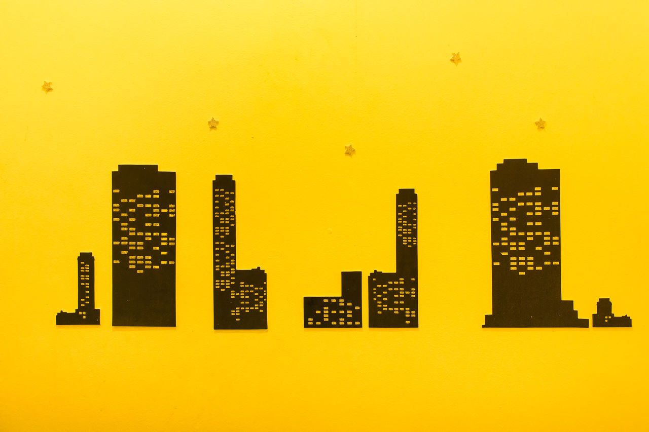 yellow, architecture, building exterior, built structure, city, skyscraper, no people, modern, indoors, cityscape, day, close-up, sky