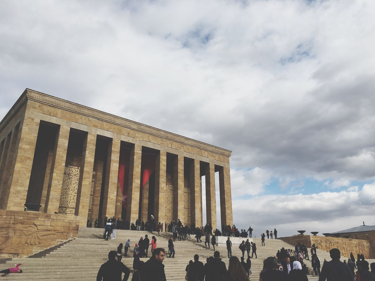 Large Group Of People Real People Architecture Built Structure Sky Cloud - Sky Building Exterior Lifestyles Women Leisure Activity Architectural Column Men Outdoors Tourism Day Standing Low Angle View Crowd People Adult Anıtkabir Anıtkabirdeyiz