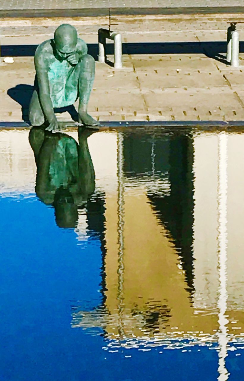 reflection, water, human representation, statue, waterfront, sculpture, day, outdoors, no people