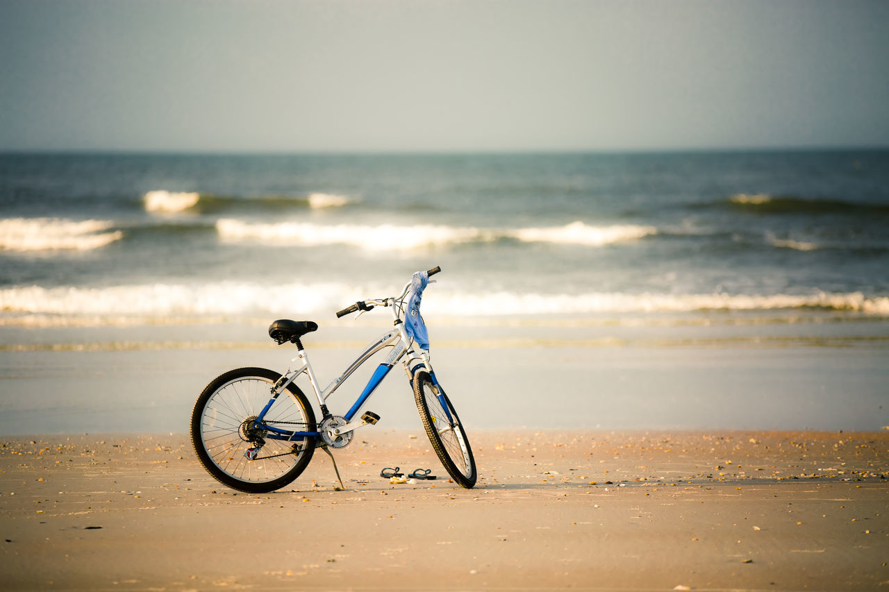 Beautiful stock photos of bike, Beach, Beauty In Nature, Bicycle, Clear Sky