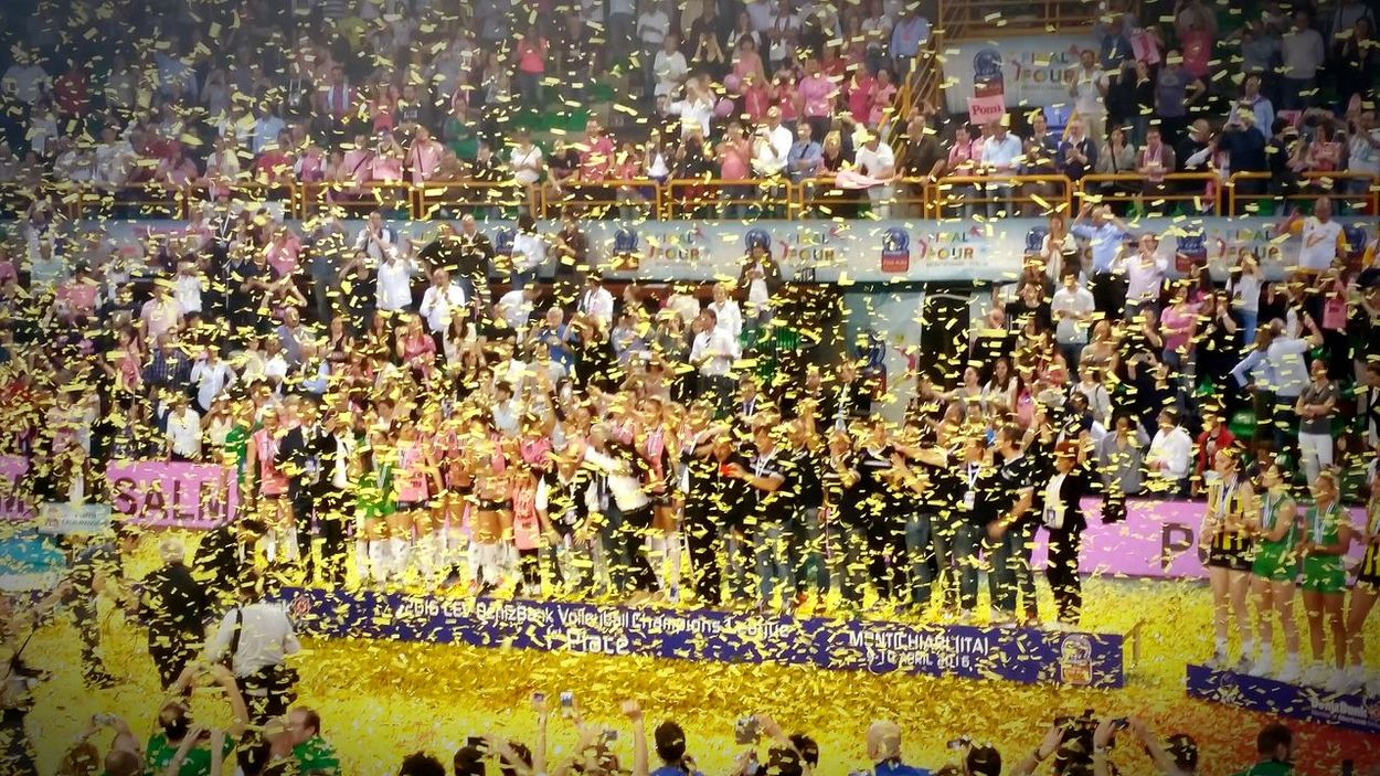 Pomì Casalmaggiore wins the CEV DenizBank Volleyball Champions League 2015/2016 High Angle View Large Group Of People Multi Colored Yellow Pink Victory Triumph Volleyball Volley Champions League Sport Casalmaggiore Montichiari Italy Italia Women Volleyball Team Volleyball Tournament Colors Colorful Colorsplash People And Places People And Places.