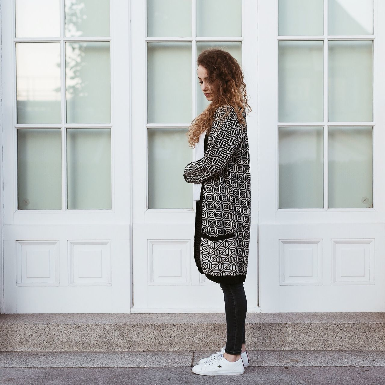 Deceptively Simple Happy Halloween Pattern Ootd Blogger Curly Hair Girl Sweater Knit White