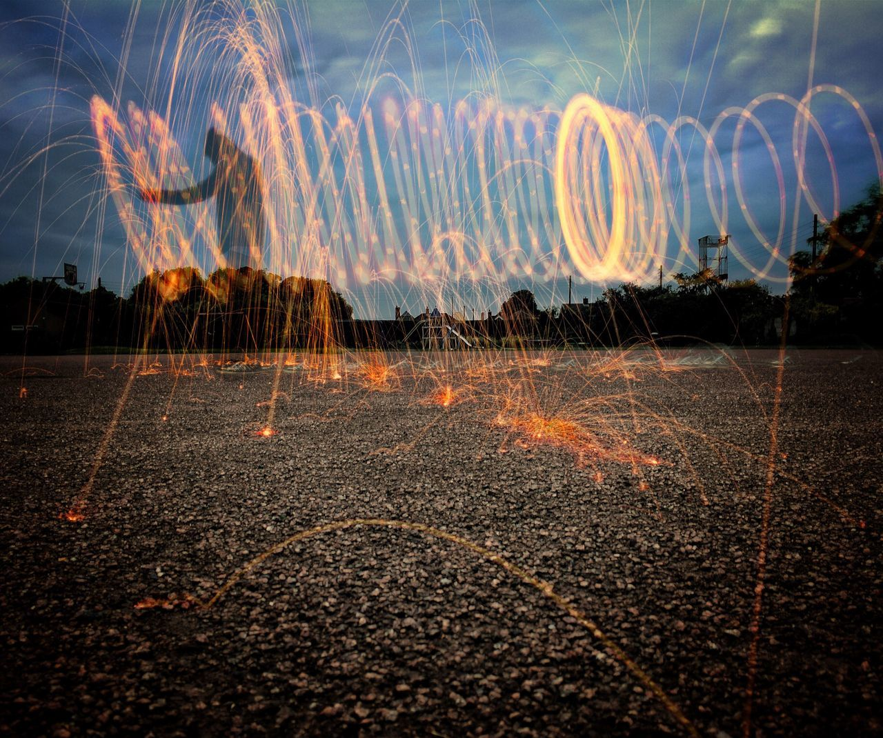 First steel wool attempt. Night Nightphotography Light Trail Outdoors Illuminated Nature Lighttrails Lightpainting Steelwool IPhoneography Iphonephotography Streetphotography