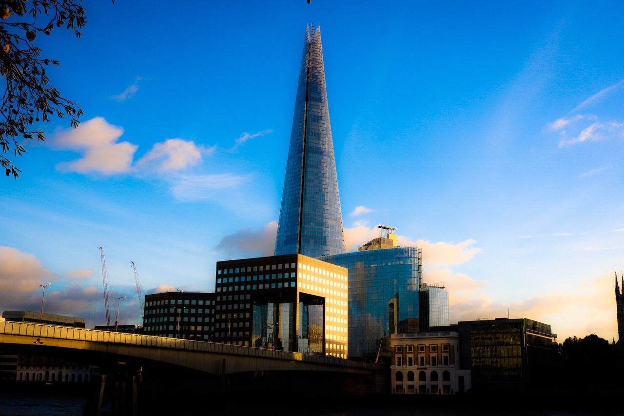 Architecture Built Structure Sky Building Exterior Tall - High City Blue Tower Skyscraper No People Modern Low Angle View Cloud - Sky Outdoors Day Theshard London
