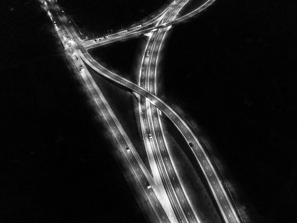 Highway intersection with wavy bridge - areal photo from DJI mavic pro drone at night / black and white photo Aerial Shot Aerial View Blackandwhite Bridge - Man Made Structure City Connection Dji Dji Mavic DJI Mavic Pro Drone  Dronephotography Illuminated Intersection Lithuania Mavic Mavic Pro Night Night Lights Nightphotography Road Street Town Transportation Vilnius Wavy