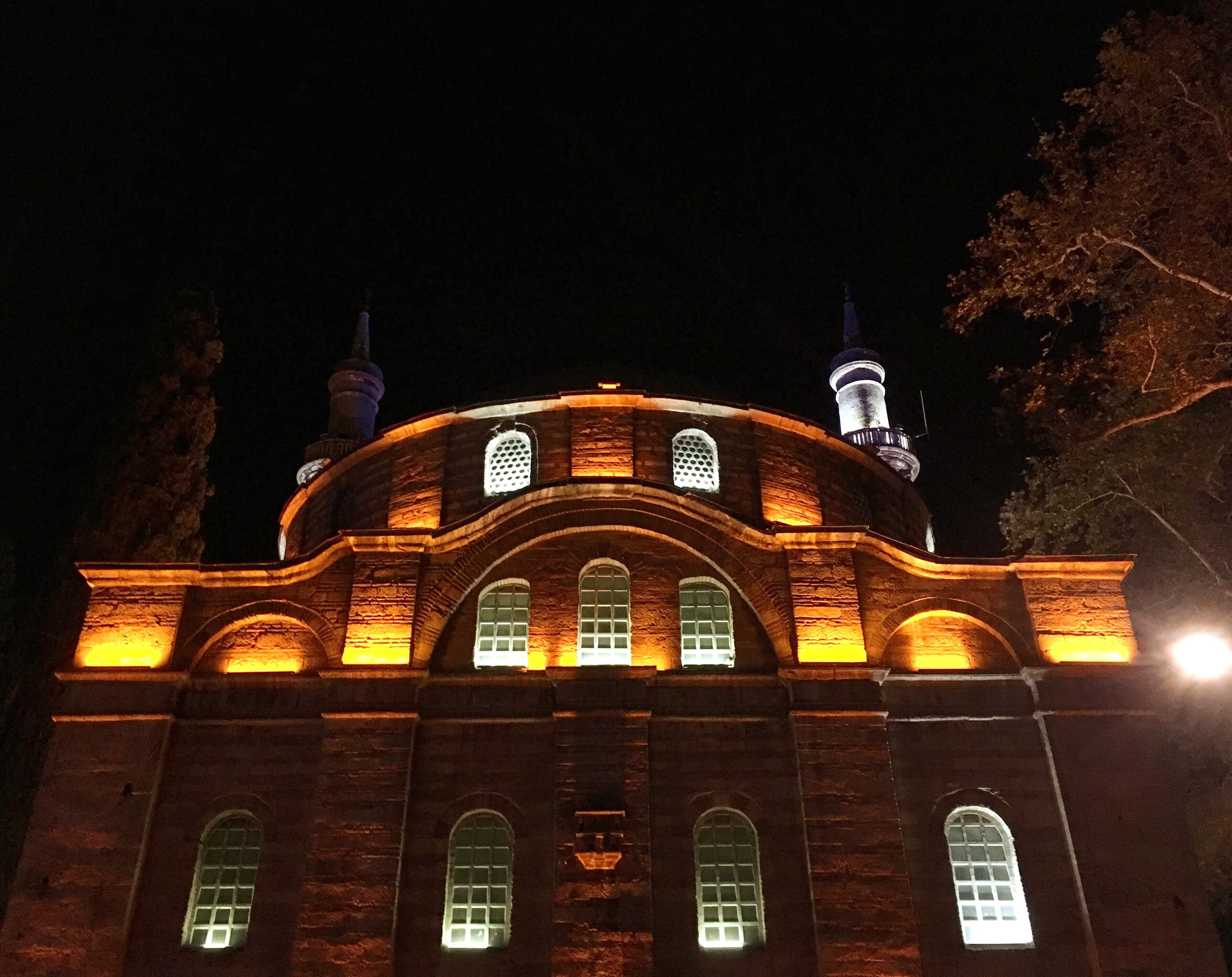Architecture Built Structure Building Exterior Low Angle View Arch Window Night Illuminated City Clear Sky History Façade Historic Arched Sky Outdoors Architectural Column Government Building Architectural Feature Government Bursamosque Bursadazaman Yesilbursa Sevdiğimyerler