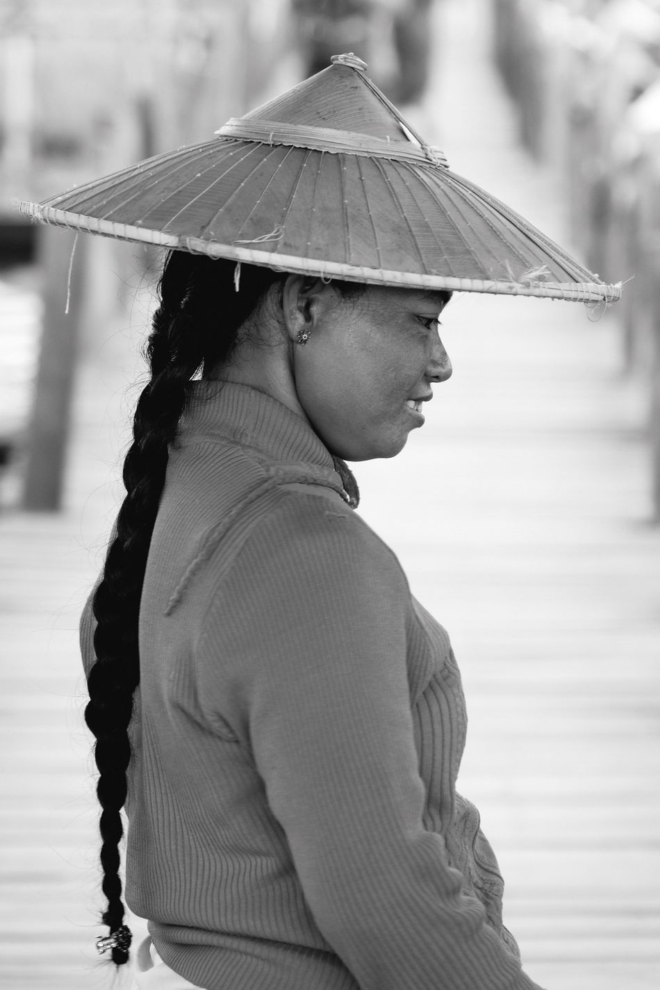 One Person Outdoors Lifestyles Focus On Foreground Side View Woman Portrait People Tradition Cultures Hat Day Nature Young Adult Adult Black And White Monochrome Fashion Bridge EyeEm Best Shots EyeEm Gallery Check This Out Popular Photos in Inle Lake , Myanmar