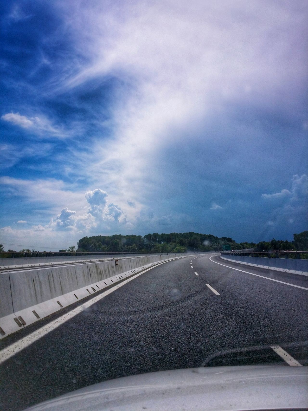 Free Wheeling Joy Of Driving Motorway Driving Travel Photography Travel Voyage Traveling Mobile Photography Fine Art Photography Backlight Cumulus Clouds Before A Storm Reflections And Shadows