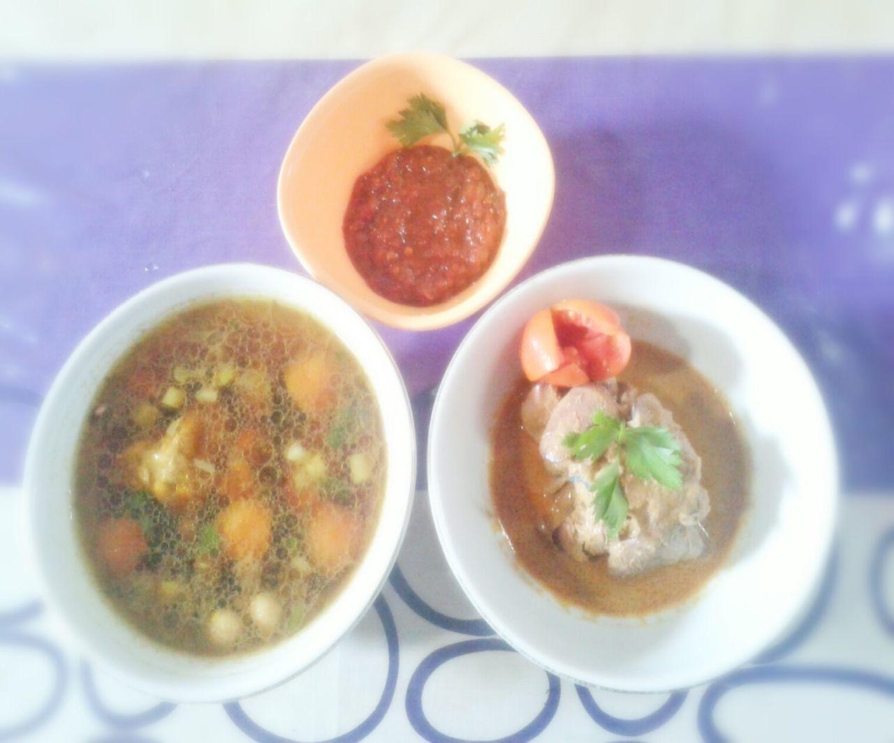 "Sambal, Gulai ati ayam, Semur ayam ""indonesian food"" Indonesiaku1 Makananindonesia Meal Of The Day Indonesia Banget Indonesian Food Indonesia Culture Indonesianculinary"