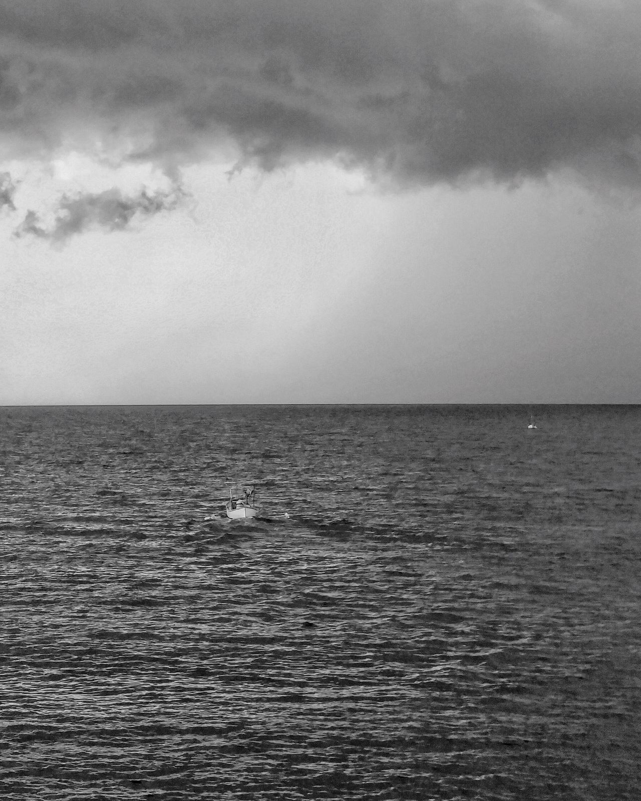 Horizon Over Water Sea Idyllic Beauty In Nature Waterfront Seascape Nature Cloudy Boat Sailing Sky Cloud - Sky Clouds Storm Black And White Blackandwhite EyeEm Best Shots EyeEm Nature Lover EyeEm Gallery EyeEm Best Shots - Black + White EyeEm