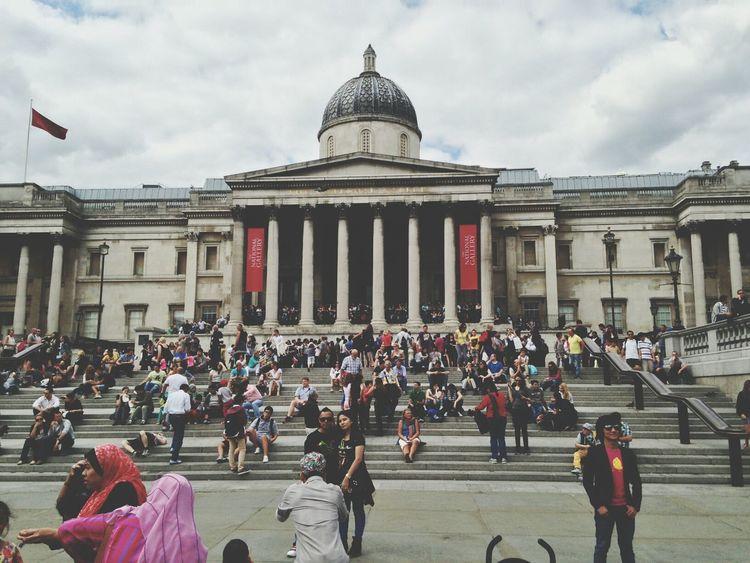London Trafalgar Square Art Gallery Taking Photos Of People Taking Photos