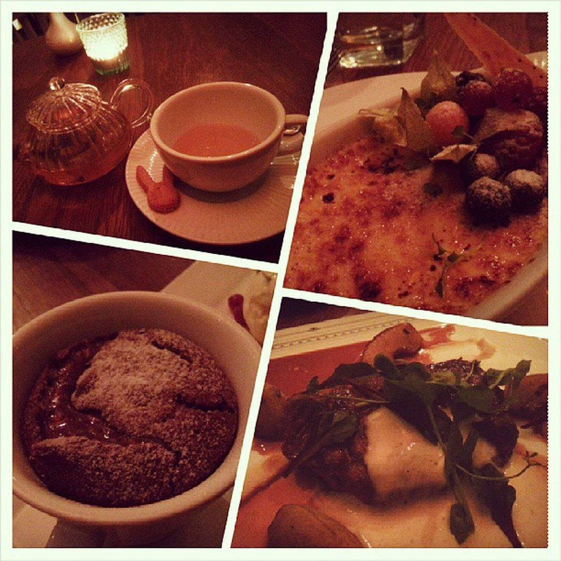 Char-grilled Mangalica Pork Collar, Creme brulee with summer berries, Chocolate Moelleux and their signature tea with mix of organic German herbs with mint and green raisins. Thewhiterabbit Dessert Yummy food instafood foodie foodgasm fotd foodgram sgfood happytummy burpple