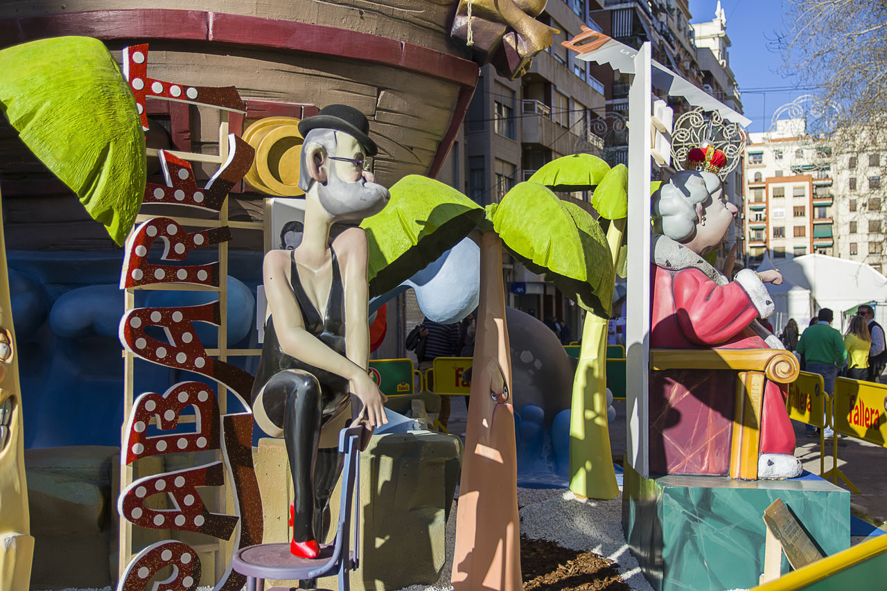 fallas valencia 2017 Adult Adults Only Business Finance And Industry City Day Fallas 2017 Low Angle View Men Outdoors People Sculpture Statue Valencia, Spain